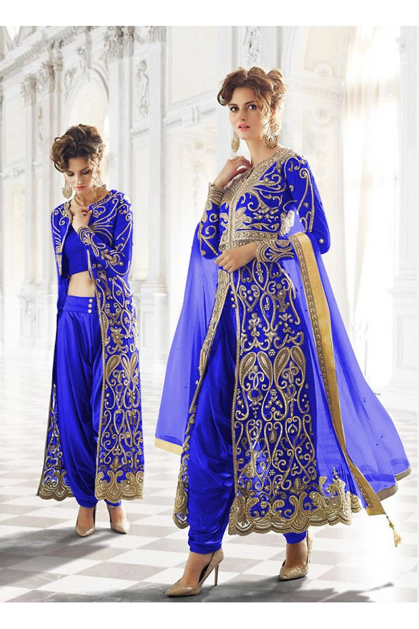 Party wear Blue Net  Salwar suit -67906