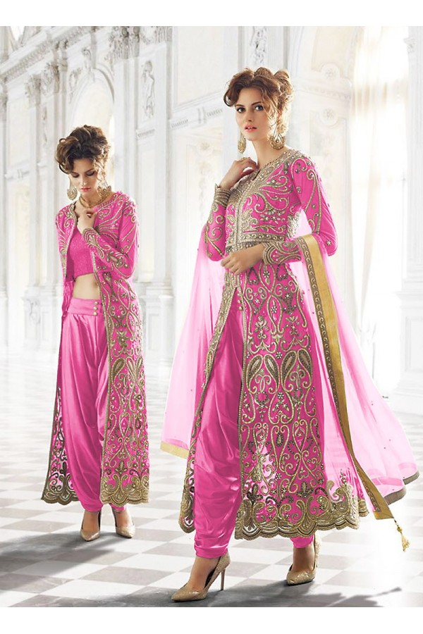 Party wear Pink Net  Salwar suit -67905
