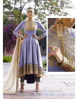 Jute Lavender Anarkali Suit Dress Material - 67911