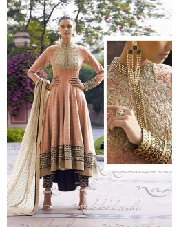 Jute Pink Anarkali Suit Dress Material - 67910