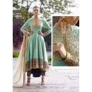 Jute Turquoise Anarkali Suit Dress Material - 67909