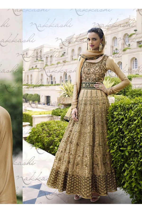 Net Brown Anarkali Suit Dress Material - 67913