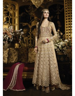 Party wear Brown Banarasi Silk Salwar suit -69529