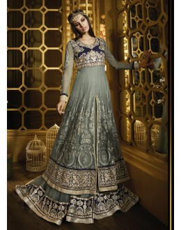 Party wear Grey Banarasi Silk Salwar suit -69527