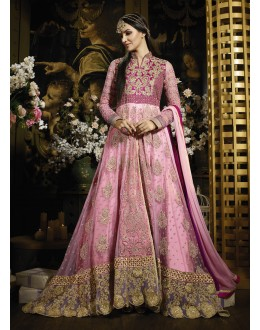 Party wear Pink Banarasi Silk Salwar suit -69530