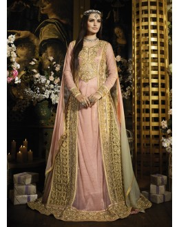 Party wear Pink Net Salwar suit -69524