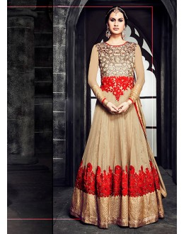 Party wear Brown Georgette Salwar suit -69893