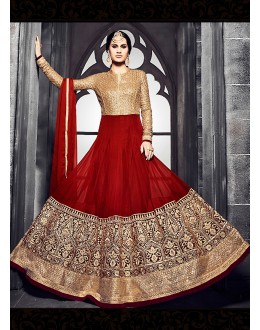 Party wear Red Georgette Salwar suit -69890