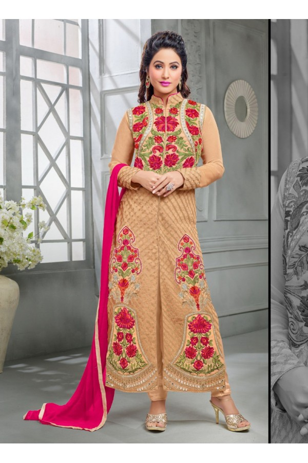 Party wear Brown Georgette Salwar suit -70174