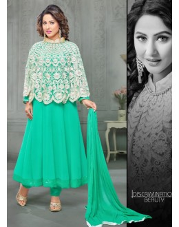 Party wear Turquoise Georgette Salwar suit -70175