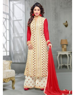 Party wear White Georgette Salwar suit -70176