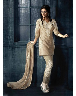 Designer Semi-Stiched Brown Silk  Salwar Suit -  70317