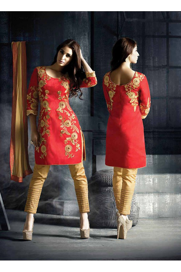 Designer Semi-Stiched Red Silk  Salwar Suit -  70318