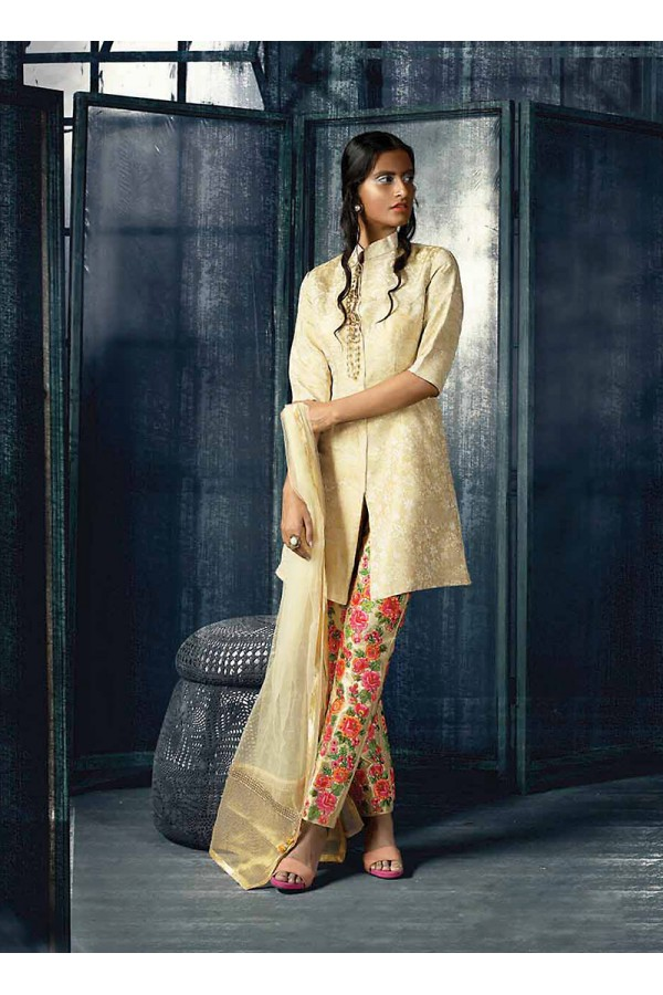 Designer Semi-Stiched Beige Silk  Salwar Suit -  70320