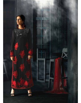 Designer Semi-Stiched Black Georgette Salwar Suit -  70321