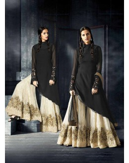Designer Semi-Stiched Black Georgette  Salwar Suit -  70322