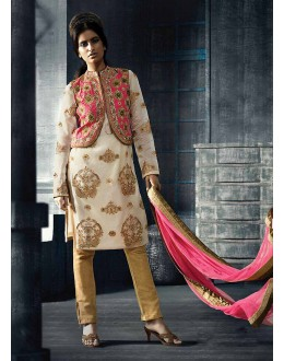 Designer Semi-Stiched White Silk  Salwar Suit -  70323