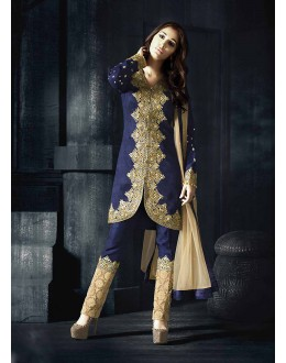 Designer Semi-Stiched Blue Silk  Salwar Suit -  70324