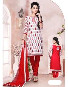 Casual Wear White Un-Stitched Salwar Suit - 70495