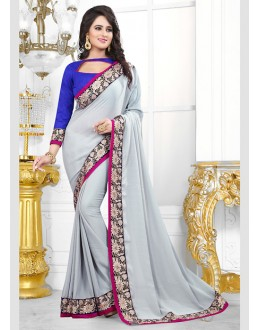 Party Wear Grey Chiffon Saree  - 70684