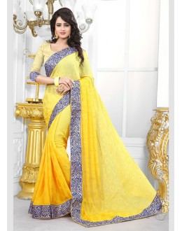 Party Wear Yellow Jaquard Saree  - 70688