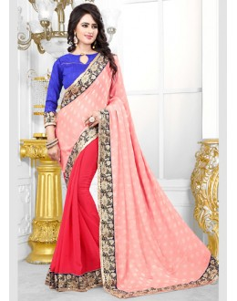 Party Wear Pink Georgette Saree  - 70690
