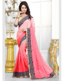 Party Wear Pink Jaquard Saree  - 70691