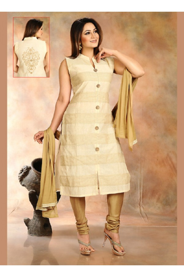 Party Wear Beige Cotton Silk Readymade Salwar Suit  -  70736