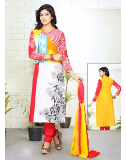 Party Wear Multicolour Cotton Salwar Suit - 70760