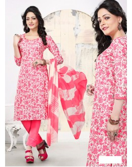 Casual Wear White Cotton Salwar Suit - 70766