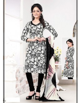 Casual Wear White Cotton Salwar Suit - 70767