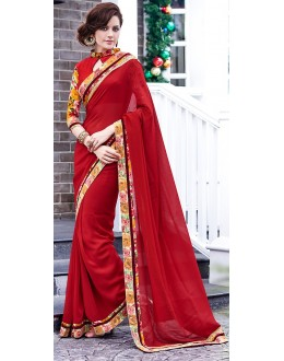 Party Wear Red Georgette Saree  - 70857