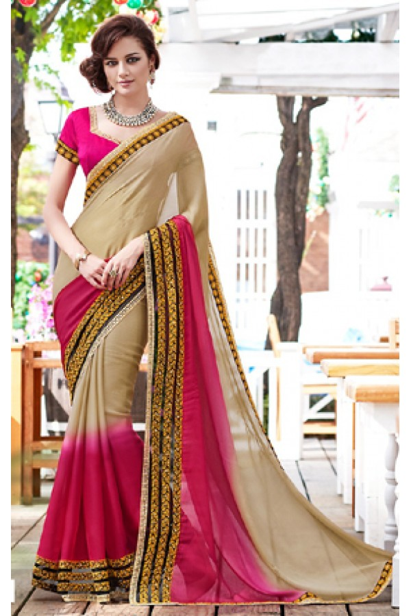 Party Wear Tan Brown & Pink Saree  - 70859