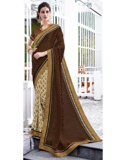 Casual Wear Brown & Cream Saree  - 70860