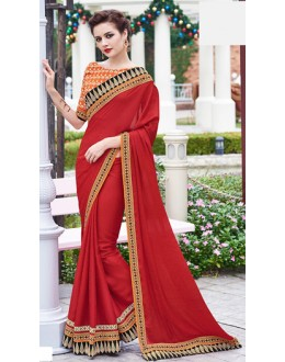 Casual Wear Red Jaquard Saree  - 70863