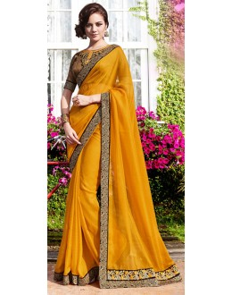 Party Wear Yellow Satin Saree  - 70864