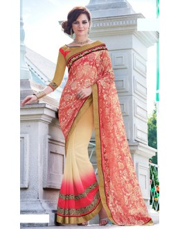 Party Wear Pink & Tan Brown Saree  - 70865