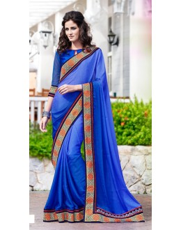Party Wear Blue Jacquard Saree  - 70866