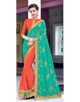 Party Wear Orange & Green Saree  - 70867
