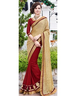 Party Wear Red & Beige Saree  - 70872