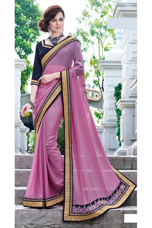 Party Wear Pink Georgette Saree  - 70873