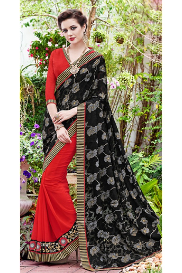 Party Wear Black & Red Saree  - 70876