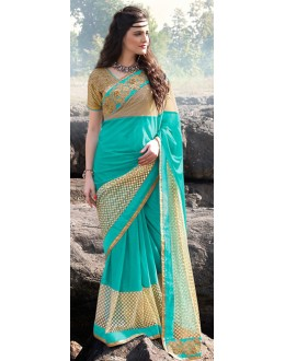 Party Wear Turquoise & Brown Lycra Saree  - 70881