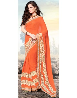 Party Wear Orange Georgette Saree  - 70884