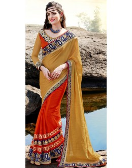 Party Wear Multicolour Satin Saree  - 70886