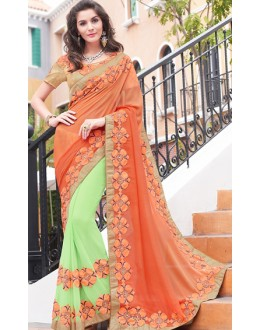 Traditional Green & Brown Georgette Saree - 70953