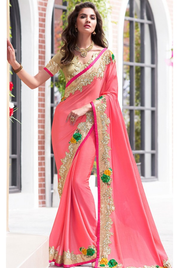 Traditional Pink & Brown Chiffon Saree - 70954