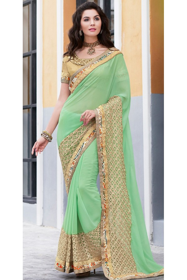 Traditional Green & Brown Georgette Saree - 70955