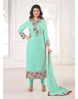 Party Wear Turquoise Georgette Salwar Suit - 70993