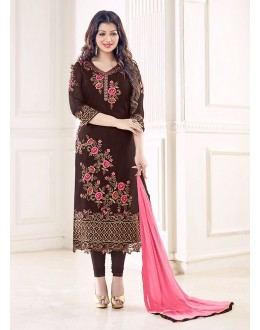 Party Wear Brown Georgette Salwar Suit - 70994
